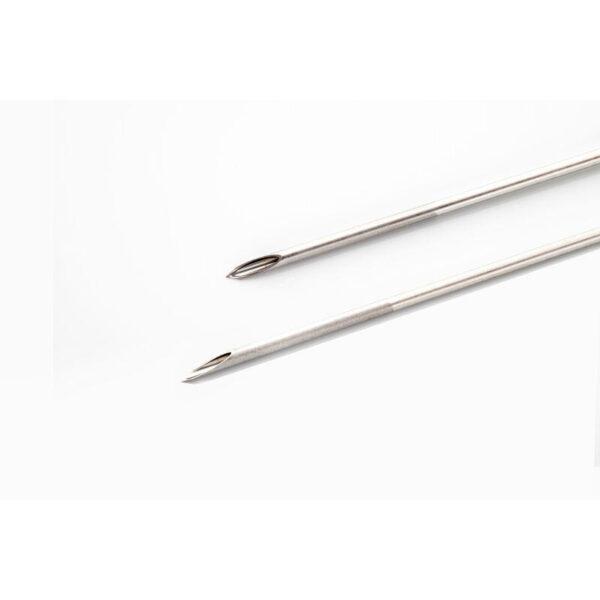 Kitazato Dual Lumen needle echogenic etching tip front